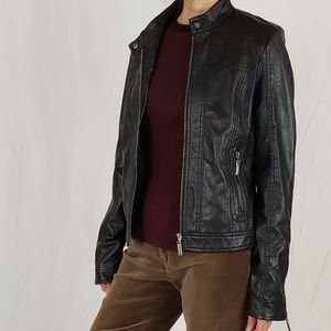 J2 Black faux leather jacket,  SIZE L.